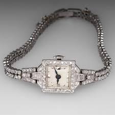 bracelet diamond watches images Vintage diamond wrist watch platinum jpg