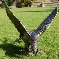 large metal eagle sculpture metal garden ornament candle and blue