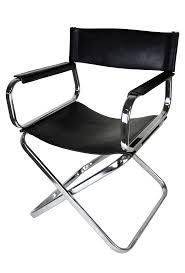 Folding Directors Chair Italian Leather And Chrome Director U0027s Chair Chairish