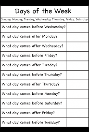 days of the week worksheets for preschool with days of the week