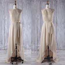 2016 beige chiffon bridesmaid dress with convertible neck high