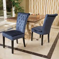 set of 2 blue velvet dining chairs w tufted accents blue velvet
