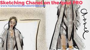 time lapse fashion illustration on ipad pro chanel resort with