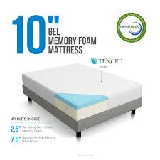 King Size Memory Foam Mattress Topper Amazon Com Lucid 10 Inch Gel Memory Foam Mattress Dual Layered