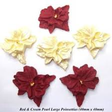Christmas Cake Decorations Poinsettia by Details About 12 Red U0026 Gold Pearl Medium Sugar Bows Edible Wedding