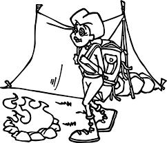 woman camping coloring wecoloringpage