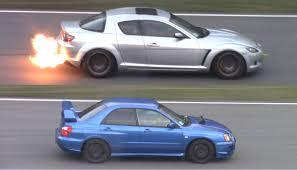 subaru japanese screaming subaru impreza sti vs flaming mazda rx 8 japan day