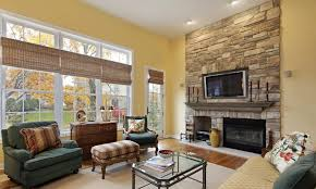 stone tile corner fireplace yellow wall color paint ivory fabric