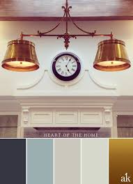 a kitchen inspired color palette gray blue white brass
