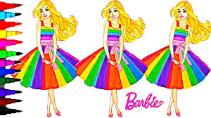 barbie coloring book videos kids fun activities learning rainbow