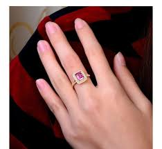 2 carat gold engagement ring 2 carat ruby and halo engagement ring in yellow gold