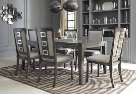 ashley 7 piece chadoni grey extension dining table and side chairs set