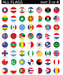 Flags Of The Wor Alle Welt Runde Flaggenillustration Wohnung Symbole Vektor