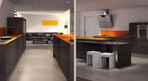 cuisine orange et noir modèle cuisine noir et orange