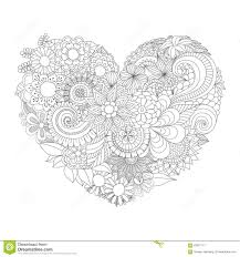 flowers in the heart shape pattern for coloring book stock vector