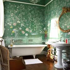 bathroom chic small with black white wallpaper also bathroom chic small with black white wallpaper also round mirror and sconces excellent vintage