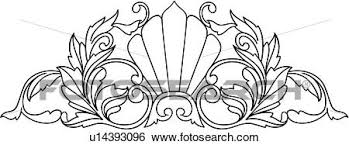 clip of border fan gilding ornaments shell u14393096