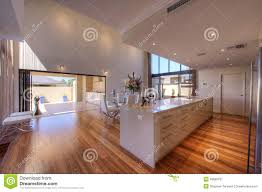 luxurious modern open plan galley kitchen royalty free stock