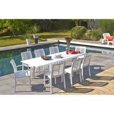 Table De Jardin 10 Personnes by Salon De Jardin Grosfillex 8 Couverts Alpha 240 X 90 Cm Blanc Meseo