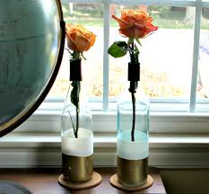 diy paint dipped wine bottle vases