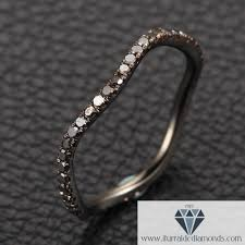 14k gold wedding band black diamond pave unique curved band 14k gold wedding band or