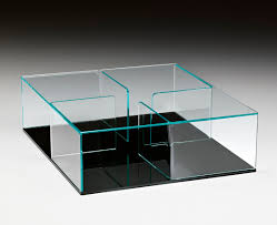 contemporary coffee table glass curved glass square quadra