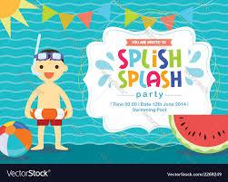 Birthday Cards Invitation Birthday Card Invitation Summer Fun Splash Vector Image