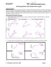 describing motion velocity vs time graphs answers physics