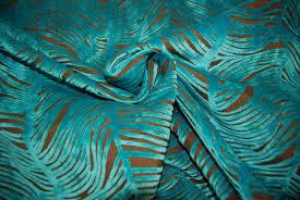 Velvet For Upholstery Peacock Plume Luxurious Cut Velvet Turquoise Blue Heavy Velvet