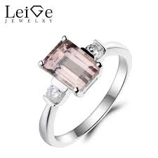 engagement rings emerald cut leige jewelry morganite engagement ring pink morganite