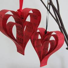 handmade red sheet music heart decoration by made in words