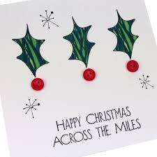 handmade christmas card abroad from afar across the miles holly