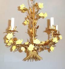 Gold Leaf Chandelier Italian Style Tole Vintage Gold Leaf Flower Chandelier