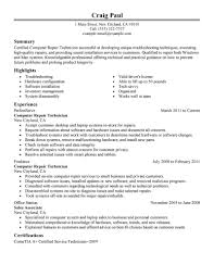 Summary Examples For Resume by Best Computer Repair Technician Resume Example Livecareer