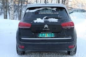 citroen c4 picasso trunk spy shots 2014 citroen c4 picasso minivan runs around in sweden