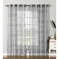Silver Valance Window Elements Sheer Delta Cotton Blend Burnout Sheer Extra Wide