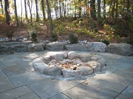 Flagstone Firepit River Rock Pit Pit Ideas