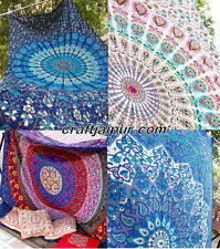 Indian Inspired Bedding White Peacock Mandala Tapestry Twin Bedspread Bohemian Bedding