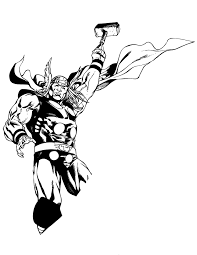 Powerfull Thor Free Coloring Page Kids Movies Superheros Thor Coloring Page