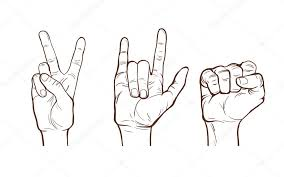 hand line sketches different gestures clenched fist rock and
