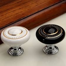 dresser knob drawer knobs pulls handles white gold ceramic kitchen