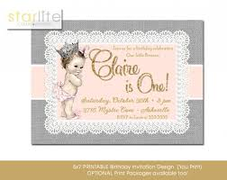 blush pink gold vintage baby princess 1st birthday invitation