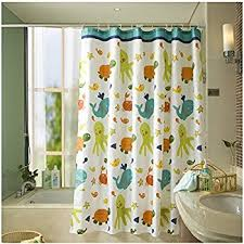 Themed Fabric Shower Curtains Homeideas Fish Designer White Shower Curtain For