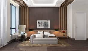 bedroom bedroom with slats accent walls and ceiling features