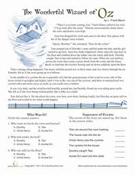 reading comprehension wizard of oz worksheet education com