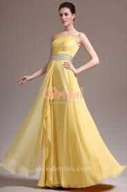 one shoulder yellow chiffon beaded a line long prom dress