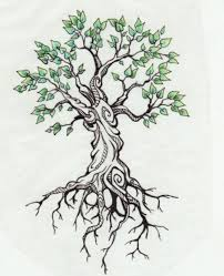 small green leaves tree design