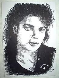 a4 black ink marker pen sketch drawing michael jackson bad ebay