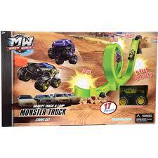 fire trucks monster truck stunt gravity track and loop monster truck stunt set walmart com