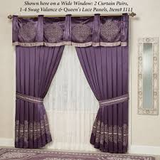 decorating wonderful purple valance with sheer curtains for